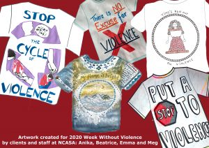 T-shirts with messages about stopping family violence created by NCASA staff and clients