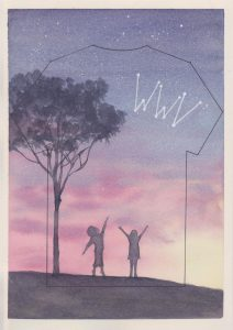 Week Without Violence Clothesline Project T-shirt watercolour. Two children, standing under a tree reach towards the sky filled with a pink sunset and underneath the letters WWV.